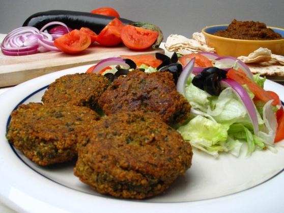 Falafel, Baingan Bharta, Eggplant Dip